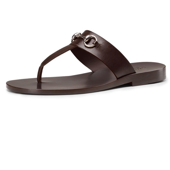 Gucci Shoes - Gucci Leather Horsebit Thong Sandal, Brown